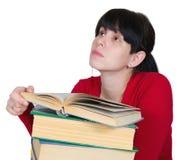 Het jonge meisje met boeken Royalty-vrije Stock Afbeeldingen