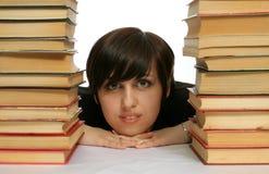 Het jonge meisje met boeken Stock Afbeeldingen