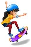 Het jonge meisje met een skateboard rijden Stock Foto's