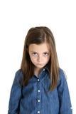 Het jonge meisje portret gefrustreerde het pruilen fronsen Royalty-vrije Stock Foto