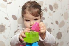 Het jonge meisje spelen met blokken Stock Afbeelding
