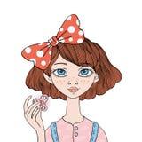 Het jonge meisje spelen met friemelt spinner Handspinner - populair antispanningsstuk speelgoed voor schooljonge geitjes en volwa royalty-vrije illustratie