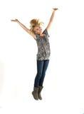 Het jonge meisje springen Royalty-vrije Stock Fotografie