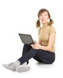 Het jonge meisje toont tong Royalty-vrije Stock Fotografie