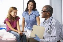 Het Jonge Meisje van artsenin surgery examining Stock Afbeeldingen