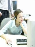 Het jonge meisje van de helpdesk Stock Foto