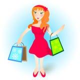 Het jonge meisje van de roodharige in het winkelen Royalty-vrije Stock Foto