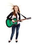 Mooi meisje met gitaar op witte achtergrond royalty-vrije stock foto's