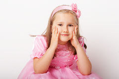 Het jonge meisje van Nice in roze Stock Afbeelding