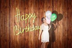 Het jonge meisje viert gelukkige verjaardag Stock Fotografie