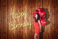 Het jonge meisje viert gelukkige verjaardag Stock Afbeelding