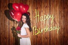 Het jonge meisje viert gelukkige verjaardag Royalty-vrije Stock Foto