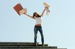 Het jonge meisje winkelen Stock Foto's