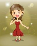 Het jonge meisje zingen op stadium Stock Foto's