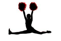 Het jonge meisjes cheerleader silhouet die de spleten doen met dient in Royalty-vrije Stock Foto