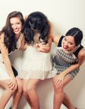 Het jonge modieuze vrouwen lachen royalty-vrije stock afbeeldingen