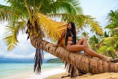 Het jonge mooie Aziatische meisje in bikini geniet de zomer van vakantie op tropisch strand De zomervakantie en Levensstijlconcep royalty-vrije stock afbeeldingen