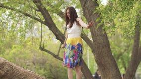 Het jonge mooie meisje beklom een boom en liep langs een brede tak Het brunette in een heldere kleding heeft pret stock footage