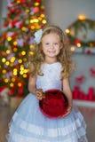 Het jonge mooie meisje in blauwe witte elegante avondjurkzitting op vloer dichtbij Kerstmisboom en stelt op een nieuw jaar voor Royalty-vrije Stock Fotografie