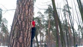 Het jonge mooie meisje in een heldere rode hoed met een grote bambon kijkt uit van achter een boom in het de winterbos en glimlac stock footage