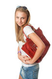 Het jonge mooie meisje met een zak Royalty-vrije Stock Foto