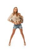 Het jonge mooie meisje met een zak Stock Foto's