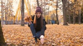 Het jonge mooie meisje verzamelt een boeket van gevallen bladeren in de herfstpark 50 fps stock footage