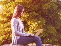 Het jonge mooie meisje werkt aan laptop terwijl het zitten op een grote rots in het bos Freelance concept royalty-vrije stock foto's