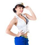 Het jonge mooie sexy meisje kleedde zich als zeeman Royalty-vrije Stock Foto