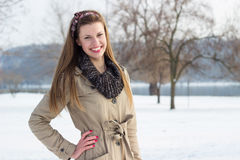 Het jonge mooie vrouw glimlachen stock foto's