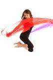 Het jonge mooie vrouw springen Stock Foto's