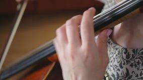 Het jonge musicusmeisje spelen met cellovioloncel stock video