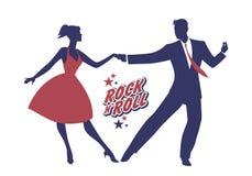 Het jonge paar die 50 ` s dragen kleedt dansende rots - en - broodje Vector Royalty-vrije Stock Afbeeldingen