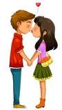 Het jonge paar kussen Stock Foto's