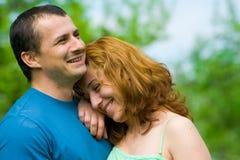 Het jonge paar lachen Stock Foto
