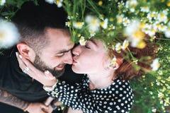Het jonge paar ligt op het gebied met madeliefjes stock fotografie