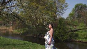 Het jonge reizigers zwangere vrouw lopen, lopend, zich omdraait en geniet van haar vrije tijdsvrije tijd in een park met stock videobeelden