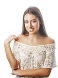 Het jonge schoonheidsvrouw het glimlachen dromen omhoog geïsoleerd op wit dicht emotioneel aanbiddelijk meisje Stock Afbeeldingen