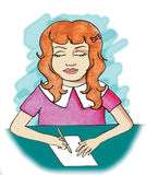 Het jonge Schrijven van het Meisje Royalty-vrije Stock Afbeelding