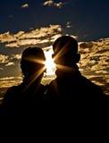 Het jonge Silhouet van het Paar Royalty-vrije Stock Foto