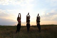 Het jonge sportmeisje stellen en het glimlachen, voeren dansbewegingen en pos uit stock afbeeldingen