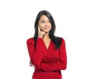 Het jonge Toevallige Aziatische Vrouw Denken Royalty-vrije Stock Foto