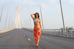 Het jonge volwassen lopen over brug Royalty-vrije Stock Foto