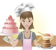 Het jonge vrouw bakken cakes en koekjes vector illustratie