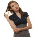 Het jonge vrouw denken Stock Foto's