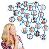 Het jonge vrouw denken aan sociaal netwerk royalty-vrije stock afbeeldingen