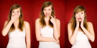 Het jonge vrouw gesturing Stock Foto's
