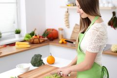 Het jonge vrouw koken in de keuken Huisvrouw die verse salade snijden royalty-vrije stock fotografie