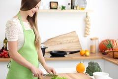 Het jonge vrouw koken in de keuken Huisvrouw die verse salade snijden royalty-vrije stock afbeeldingen