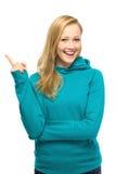 Het jonge vrouw poiting Royalty-vrije Stock Afbeelding